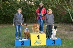 O2 1. Platz Sigrid Frielinghaus mit Frieda 2. Platz Heike Overhage mit Dhima 3. Platz Sonja Knutz mit Joko